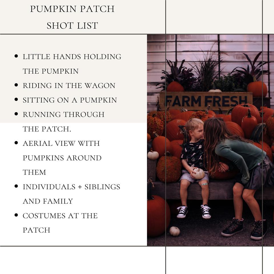 pumpkin patch photo shot list